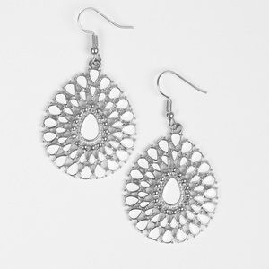 White and silver dangling earrings